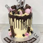 Dark Chocolate and Pink Drip Cake